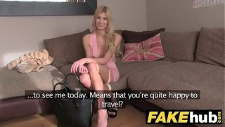 Blonde orgasms from hard finger banging on casting couch