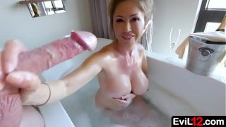 Busty asian stepmom bathes with step son