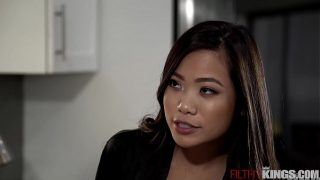 Slutty Asian Step Sister Vina Sky Seduces Horny Step Bro in Kitchen